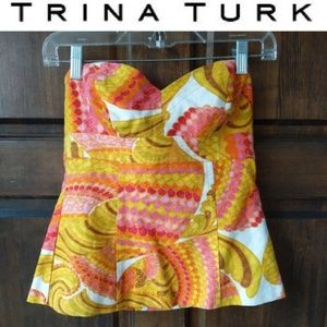 Trina Turk Multi Colored Printed Corset Bustier 4
